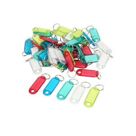 Metal Split Ring Colorful Plastic Key ID Tag Name Label Keyring 50 Pcs
