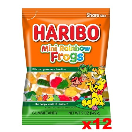 Haribo Mini Rainbow Frogs Gummi Candy, CASE (12 x 5 oz Bags) (Haribo Mini Frogs)