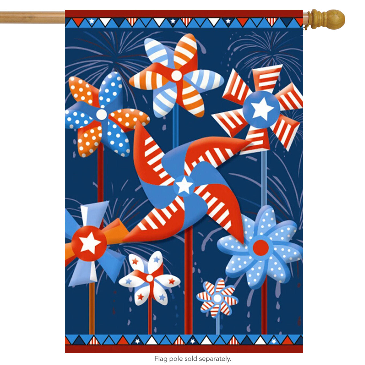 """Patriotic Pinwheels House Flag 4th of July Red White and Blue 28"""" x 40"""""""