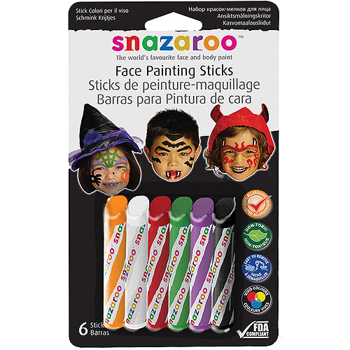 Snazaroo Face Painting Sticks, 6Pk