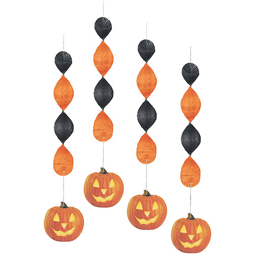 Pumpkin Glow Halloween Hanging Swirl Decorations, 4ct