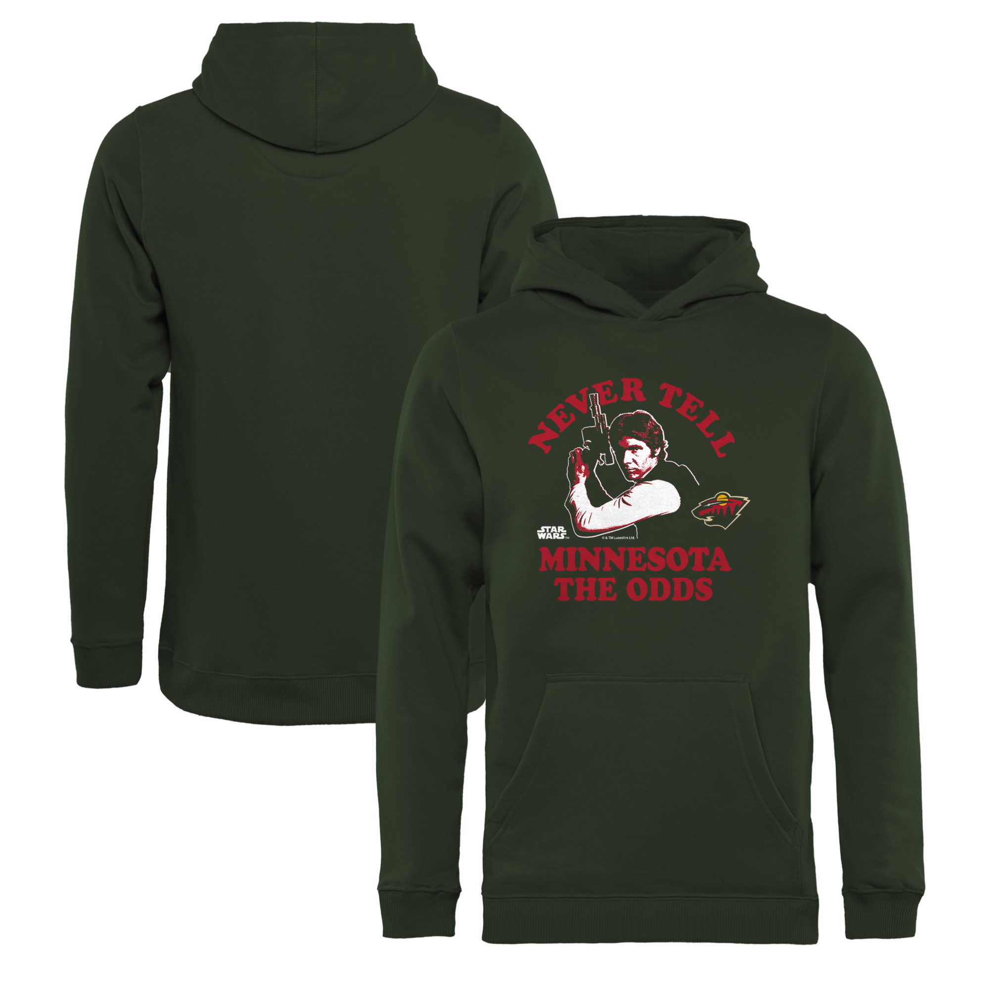 Minnesota Wild Fanatics Branded Youth Star Wars Never Tell the Odds Pullover Hoodie - Green