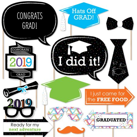 Hats Off Grad - 2019 Graduation Party Photo Booth Props Kit - 20 Count