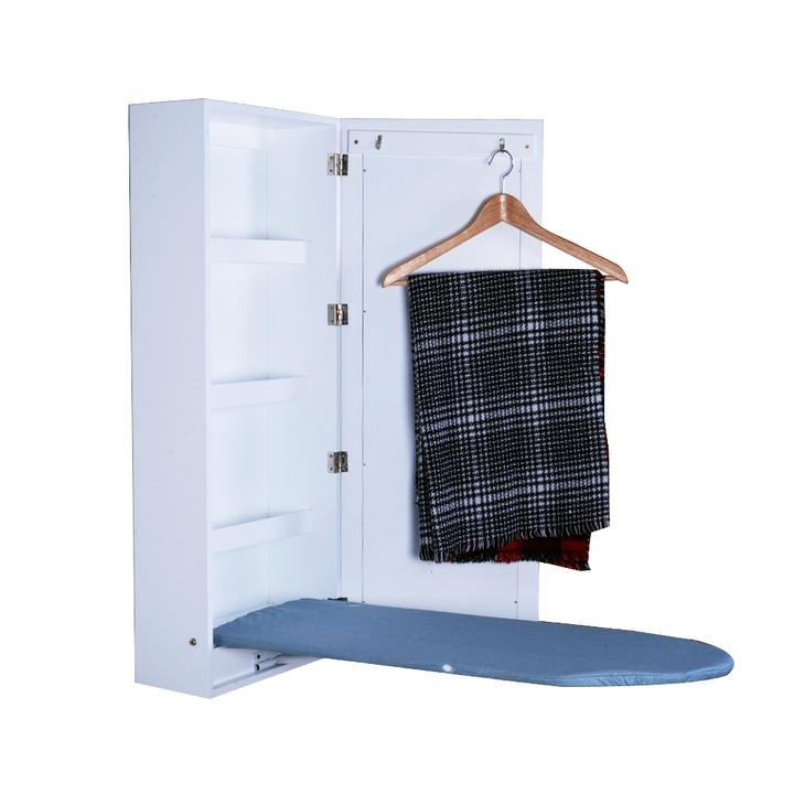Organizedlife Ironing Board Cabinet Wall Mounted Storage Cabinet Foldable  With Mirror,White