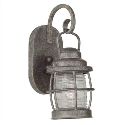 Kenroy Home Beacon  Small Wall Lantern in Solid Brass Flint