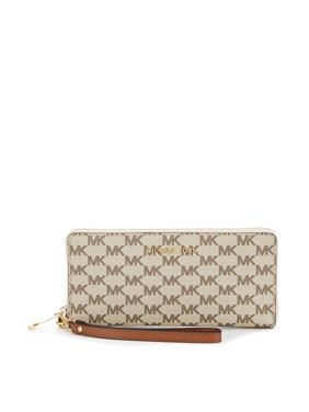 522230424c4e Product Image Michael Kors Jet Set Travel NAtural Luggage Logo Continental  Wristlet