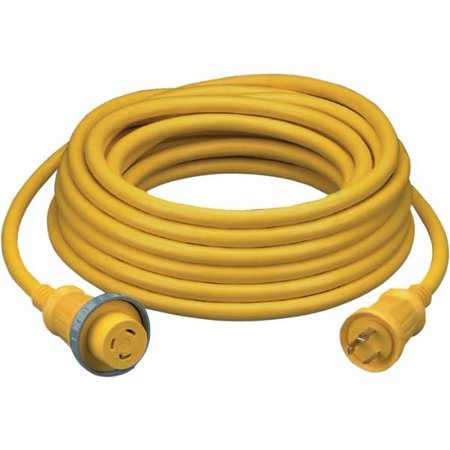 Hubbell HBL61CM05 Yellow 30A 125V Vinyl Jacketed Pre Wired Shore Power 35' Cable Set
