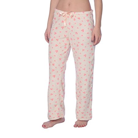 2dd32b697f Active Club Women's Warm Printed Cozy Plush Lounge Pajama Pants (Small,  Heart Ivory)