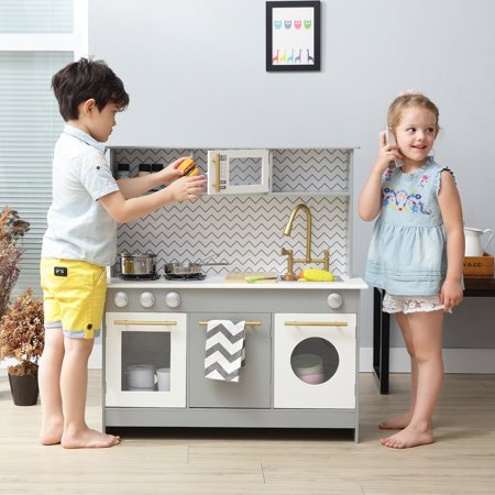 teamson kids bermingham big play kitchen grey white. Black Bedroom Furniture Sets. Home Design Ideas