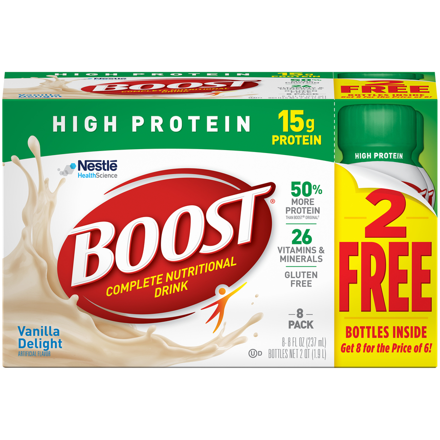 Boost High Protein Vanilla Delight Complete Nutritional Drink 8 Fl oz, 8 Ct