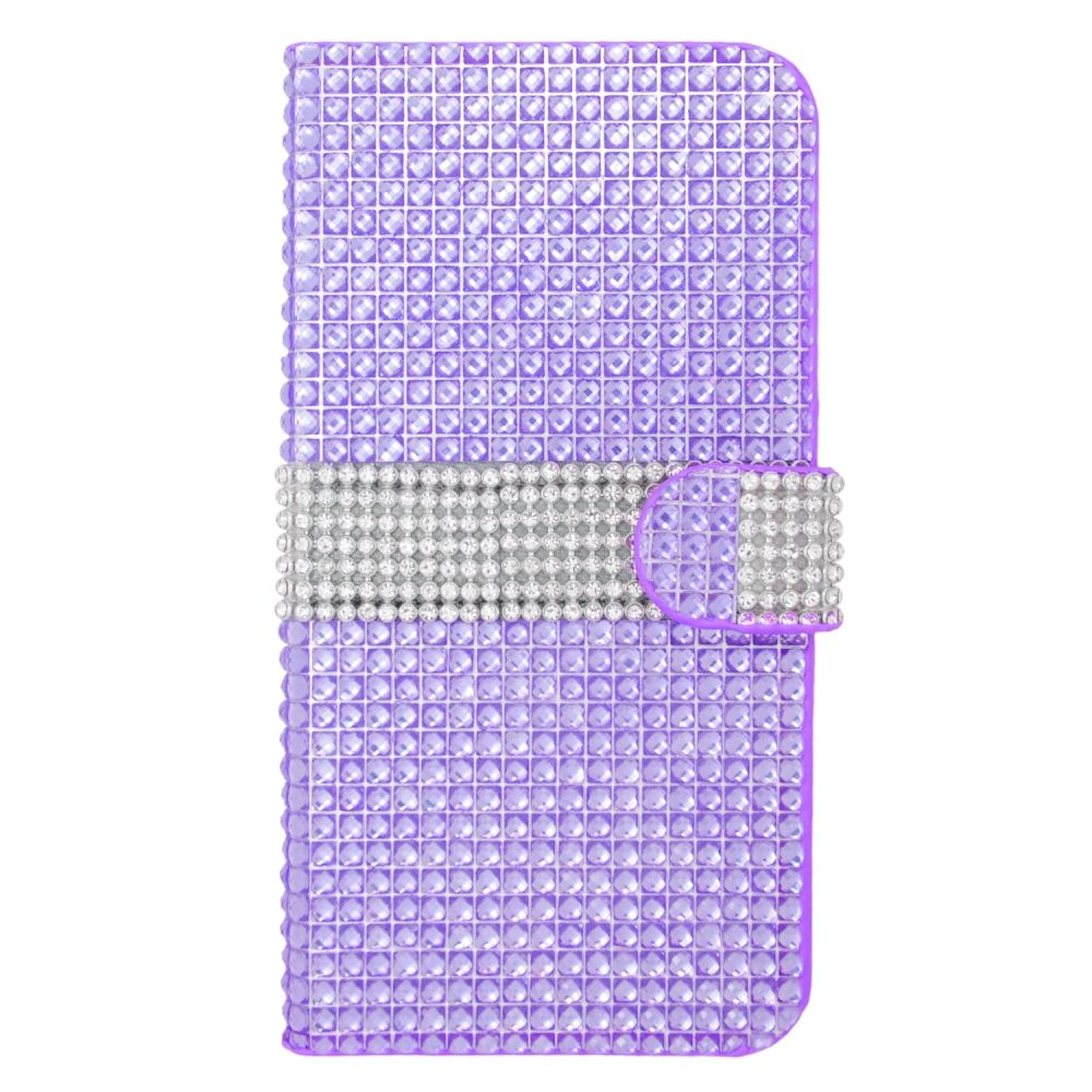 Insten Leather Wallet Diamond Case with Card slot For iPhone 6s Plus / 6 Plus - Purple/Silver - image 3 of 3