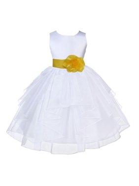 Ekidsbridal Formal Satin Shimmering Organza White Flower Girl Dress Bridesmaid Wedding Pageant Toddler Recital Easter Communion Graduation Reception Ceremony Birthday Baptism Occasions 4613s