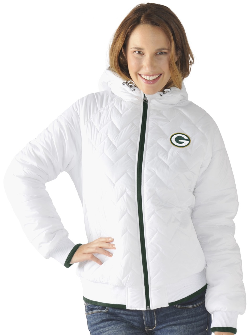 """Green Bay Packers Women's NFL G-III """"Drop Back"""" Full Zip Hooded Quilted Jacket by G-III Sports"""