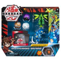Bakugan, Battle Pack 5-Pack, Ventus Hyper Dragonoid and Aquos Pandoxx, Collectible Cards and Figures, for Ages 6 and Up