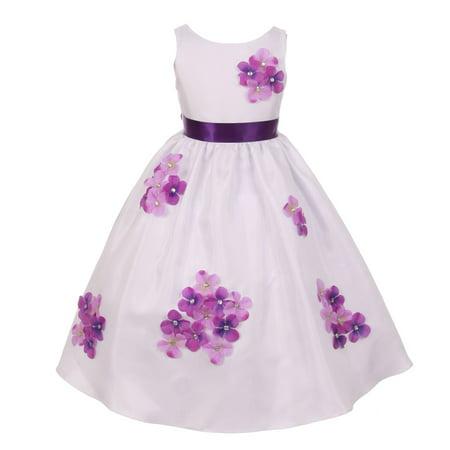 Kids Special Occasion (Kids Dream Girls Purple Shantung Flower Petals Special Occasion Dress)