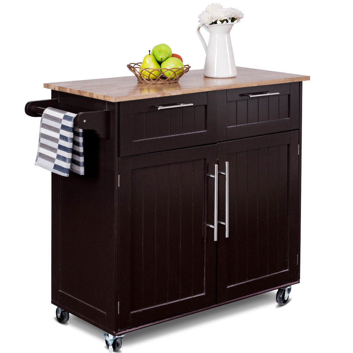 Product Image Costway Rolling Kitchen Cart Island Heavy Duty Storage Trolley  Cabinet Utility Modern