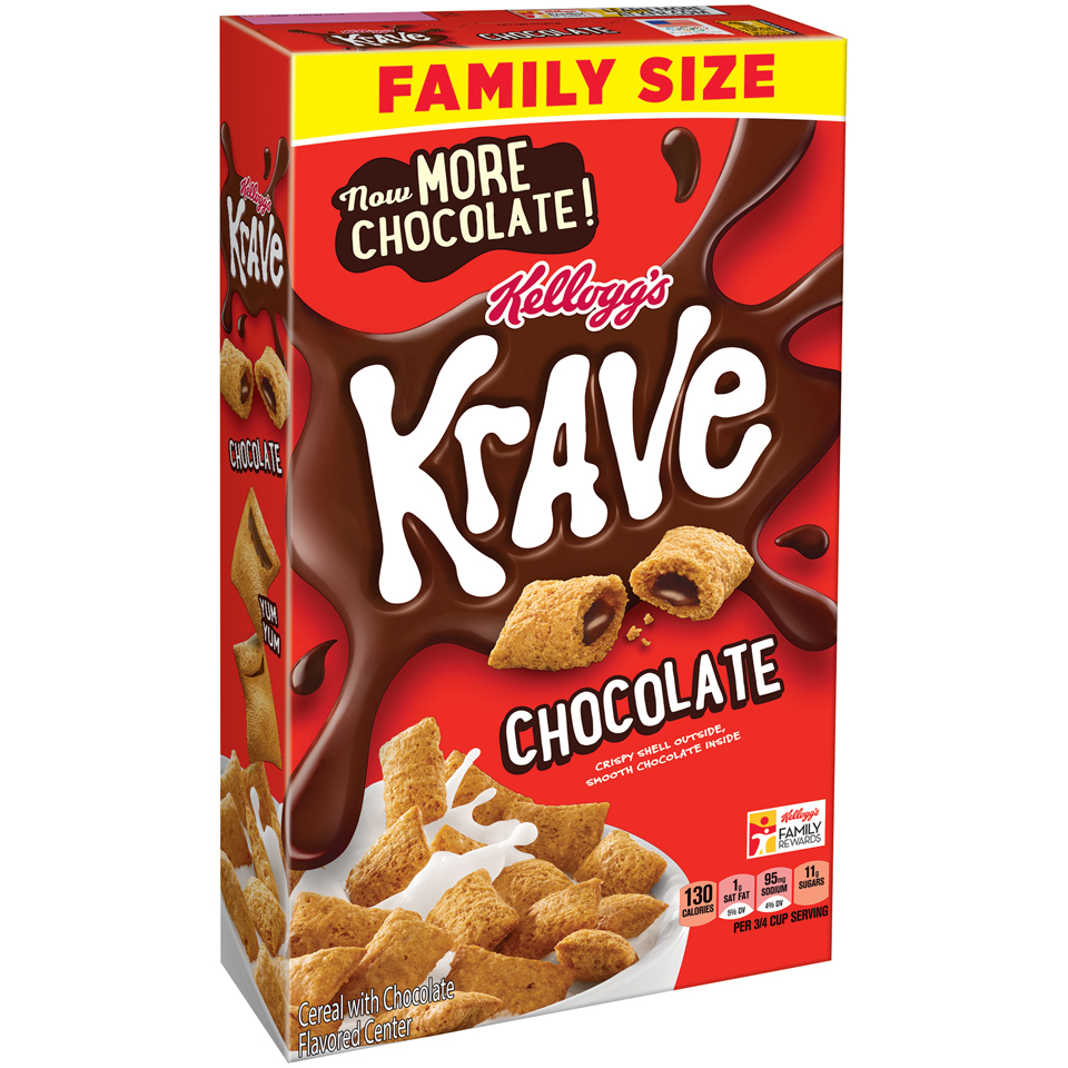 Kellogg's Krave Breakfast Cereal, Chocolate, 19.9 Oz