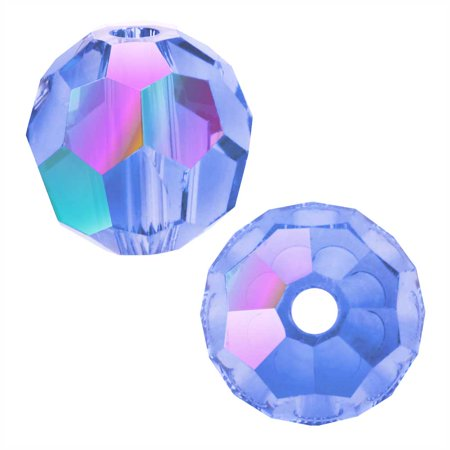 Swarovski Crystal, #5000 Round Beads 8mm, 8 Pieces, Light Sapphire Shimmer 8mm Light Sapphire Swarovski Crystal