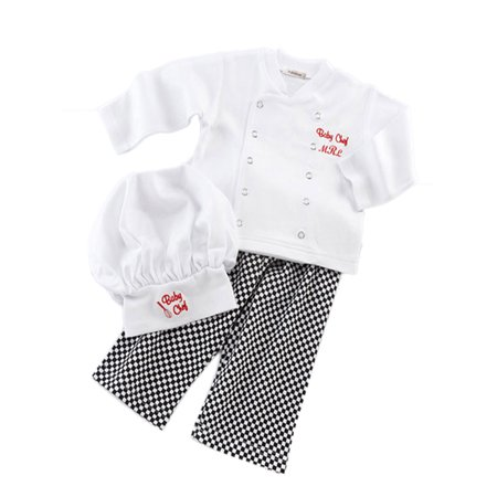 StylesILove Baby Unisex Cook Chef Costume, Pants and Hat 3-pc (6-12 Months)