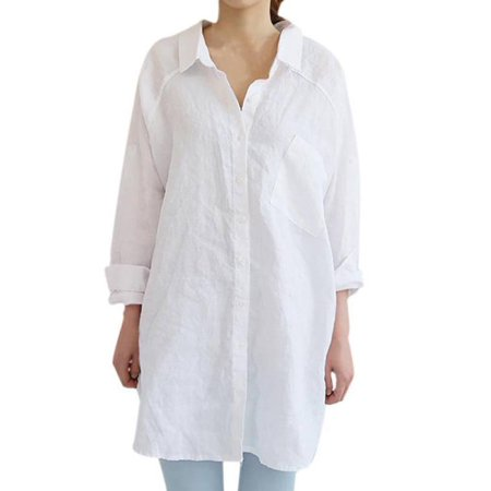 Lavaport Casual Women Girls Oversized Loose Long Sleeve Shirts Long Blouse