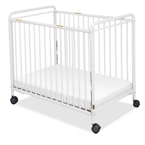 Chelsea Compact Steel Clear View Ends Non- Folding White Crib