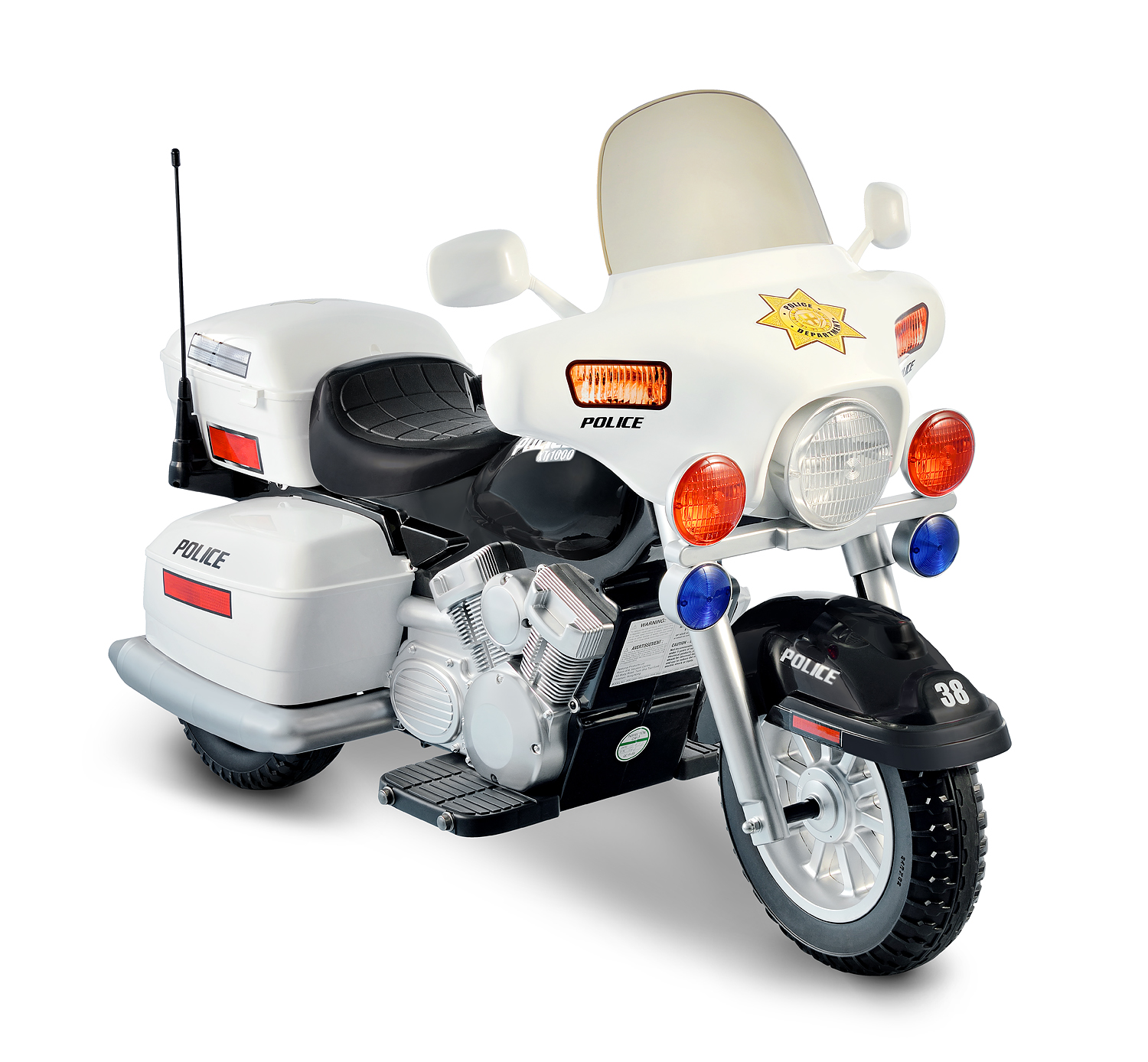 Kid Motorz Police Motorcycle 12-Volt Battery-Powered Ride-On, White ...