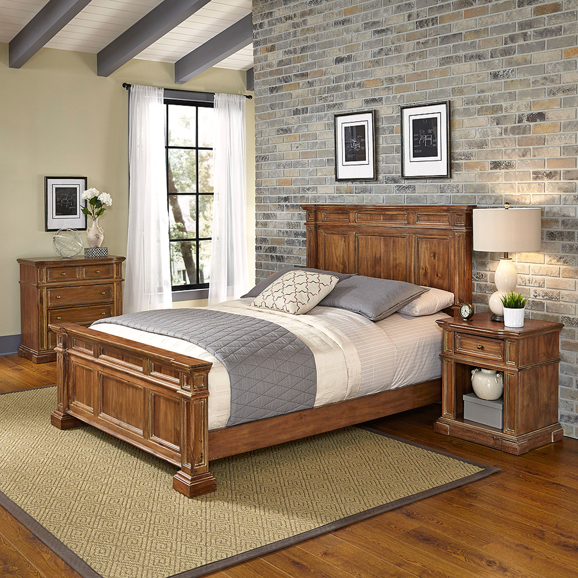 Home Styles Americana Vintage Queen Bed, Night Stand and Chest
