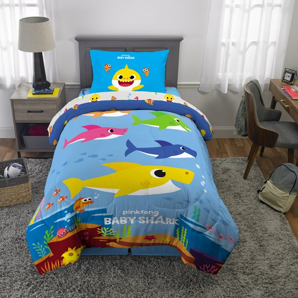 Baby Shark Bed in a Bag, Kids Bedding Bundle Set, 4-Piece TWIN