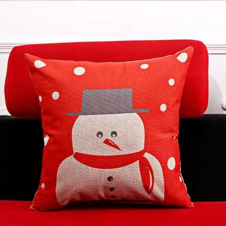 Cotton and Linen Pillowslip Sofa Car Bed Chair Cushion Pillow Pillowcase of Colourful Christmas Series 360 Cushioned Cotton Series