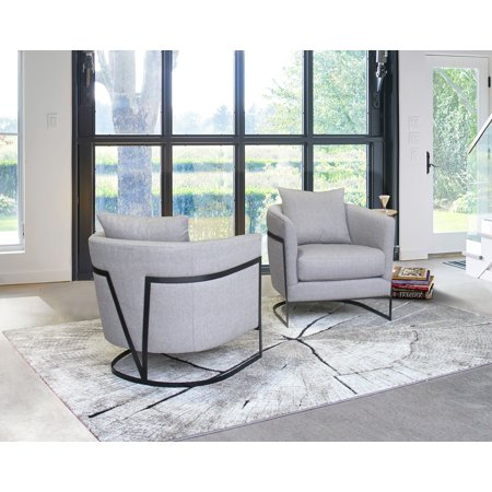 Super Swan Contemporary Accent Chair With Black Iron Finish Grey Fabric Machost Co Dining Chair Design Ideas Machostcouk