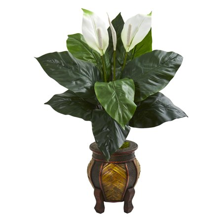 Nearly Natural Spathiphyllum Artificial Plant in Decorative Planter