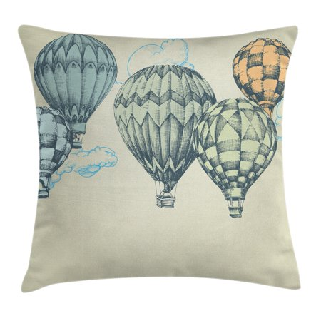 Vintage Decor Throw Pillow Cushion Cover, Hot Air Balloons in Soft Tone Fly in Sky Lighter Than Air High Tourism Artful, Decorative Square Accent Pillow Case, 18 X 18 Inches, Green Blue, by Ambesonne