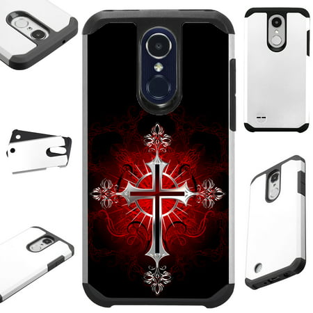 Grace Gothic Collection - For LG K20 Plus V5 | Harmony | Grace | K10 (2017) | K20 V Case Hybrid TPU Fusion Phone Cover (Red Gothic Cross)