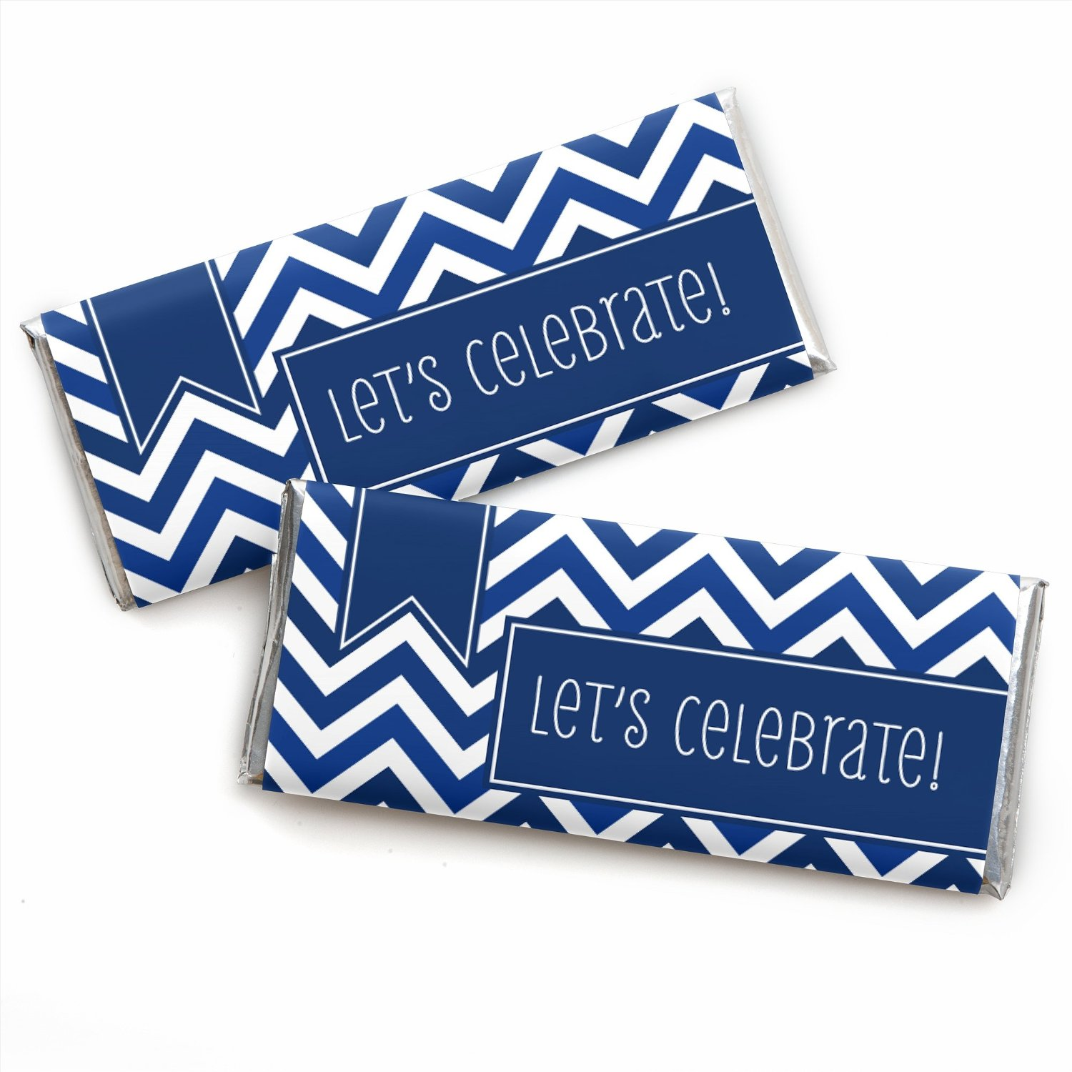 Chevron Navy - Candy Bar Wrappers Party Favors - Set of 24