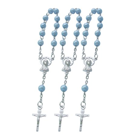 Baptism Favors Mini Rosaries for boy - (24PCS) Blue Beads with Silver Plated Accents - Recuerditos De Bautismo - Finger Rosaries - First Holy Communion - Wedding JA051Blue (Wearing Rosary Beads)