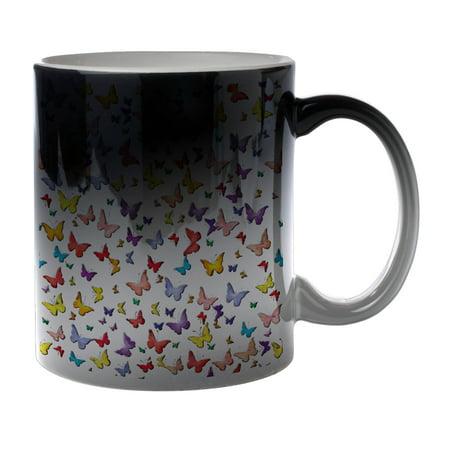 KuzmarK Black Heat Morph Color Changing Coffee Cup Mug 11 Ounce - Butterfly Wings (Kids Black Morph Suit)