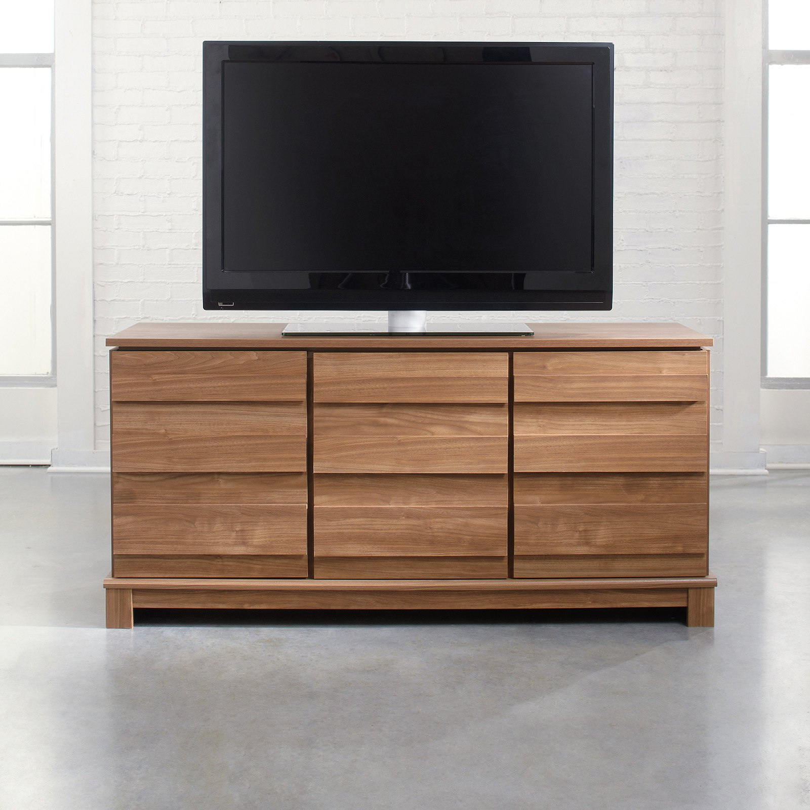 Sauder Soft Modern Entertainment Credenza - Fine Walnut