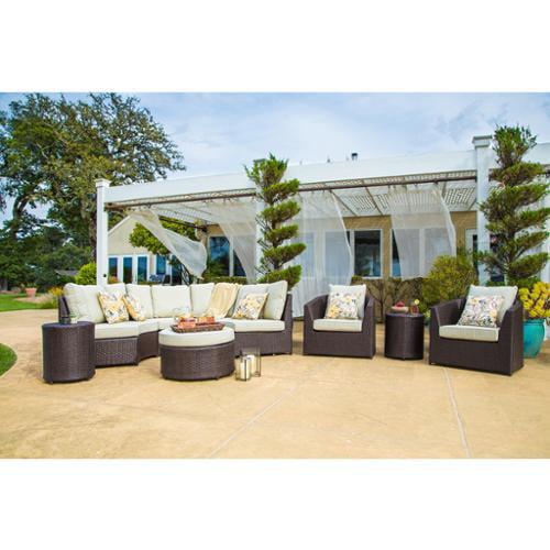 corvus melrose 8-piece brown wicker patio furniture set - walmart