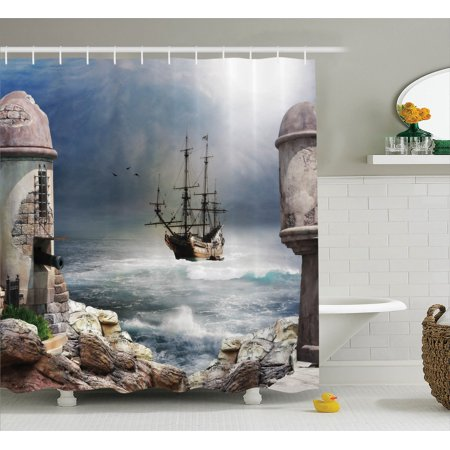 Sailboat Decor Shower Curtain Set, A Pirate Merchant Ship Anchored In The Bay Of A Fort Abandoned Rocks At Shore, Bathroom Accessories, 69W X 70L Inches, By - Pirate Bathroom Decor