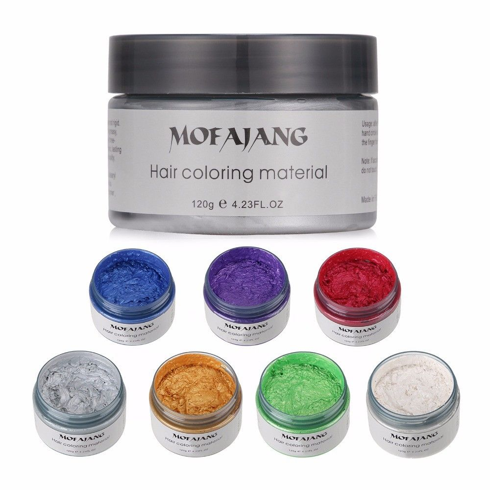 Unisex DIY Hair Color Wax Mud Dye Cream Temporary Modeling 7 Colors Mofajang PURPLE