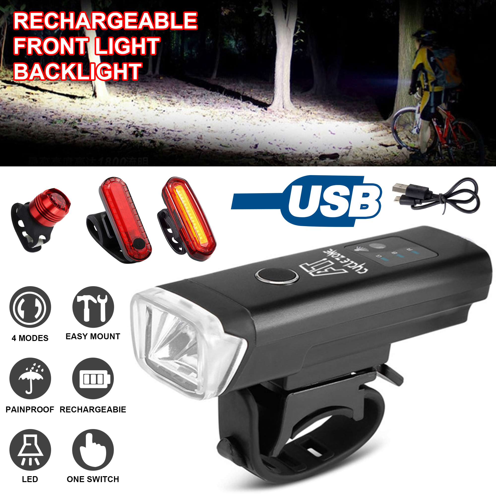 Bicycle Headlight Taillight Rear Light LED Rechargeable Waterproof Safe Warning