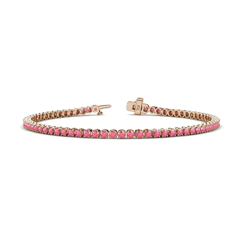 Pink Tourmaline 2.3mm Tennis Bracelet 1.47 Carat tw in 14K White Gold by TriJewels