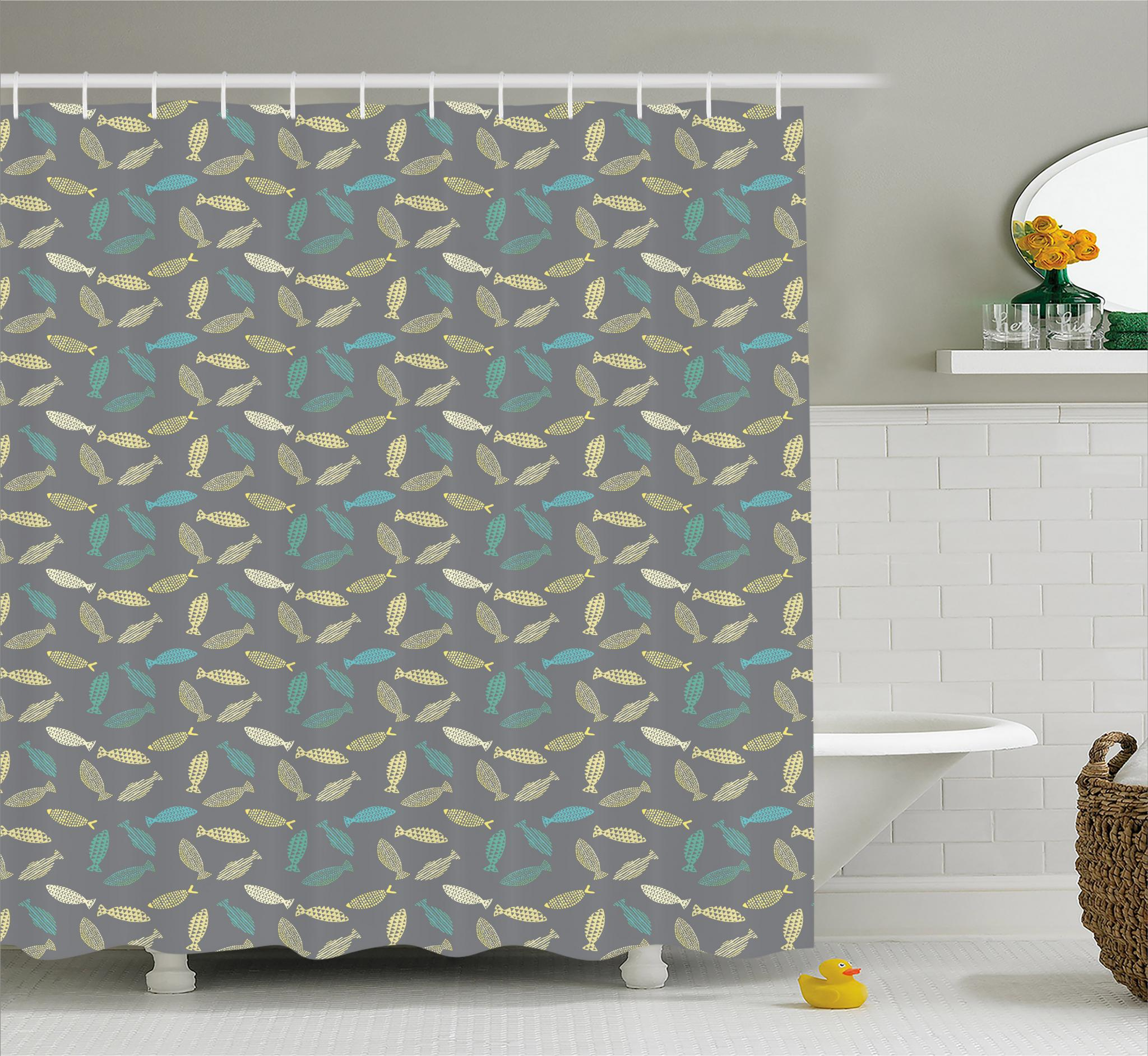 Fish Shower Curtain Abstract Fish Figures Ornamented With Dots Stripes And Triangles On Grey Backdrop Fabric Bathroom Set With Hooks 69w X 70l