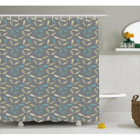 Fish Shower Curtain Abstract Figures Ornamented With Dots Stripes And Triangles On Grey Backdrop