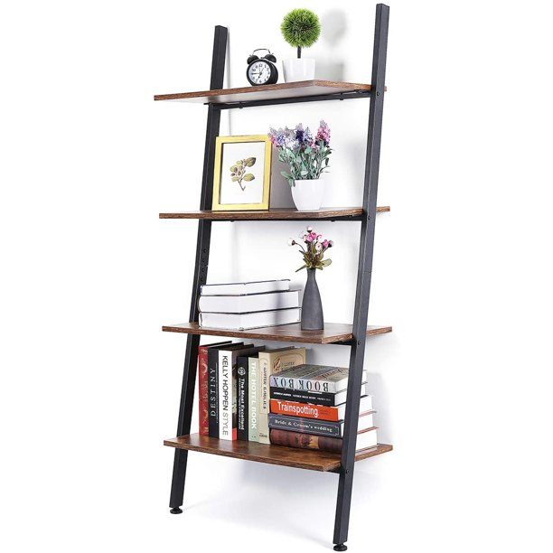 Industrial Book Shelves and Bookcases Shelving 4 tier Leaning Wall Storage Open Ladder Bookshelf Black