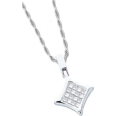 14K White Gold 0.12ctw Elegant Invisible Diamond Princess Diamond Shape Pendant