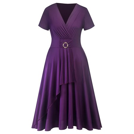 Plus Size Women's Short Sleeve Loose Waistband Plain Ruffled V-neck Dresses Casual Summer