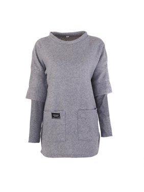 MarinaVida Autumn And Winter Fashion Women's Round Neck Long Long Sleeve Fake Two-piece Bottoming Sweater Coat
