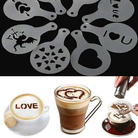 8Pcs Love Design Coffee Milk Cake Cupcake Stencil Template Mold