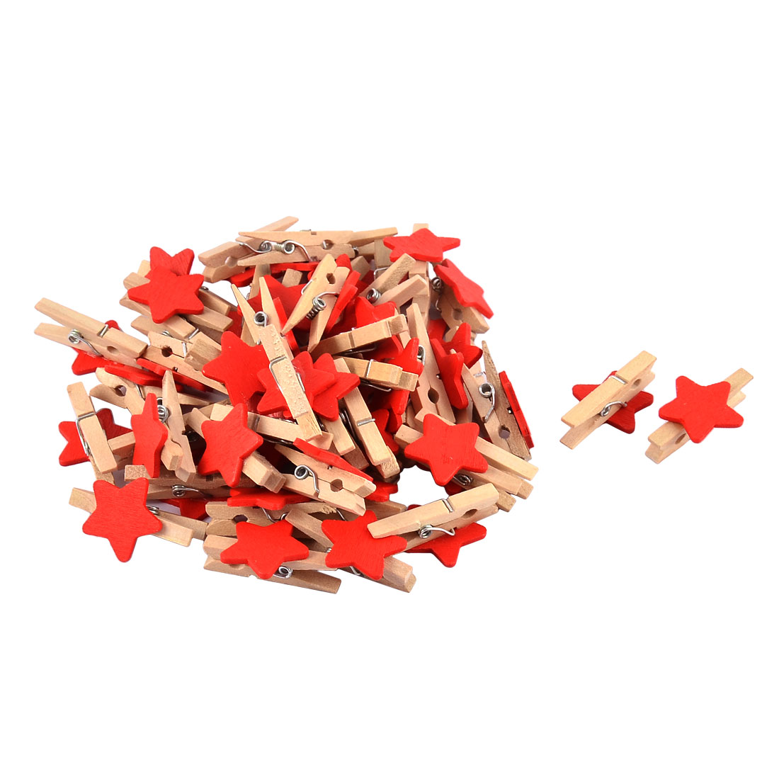 Unique Bargains Album Card Photo Paper Spring Pegs Star Crafts Mini Wooden Clip Red 50pcs